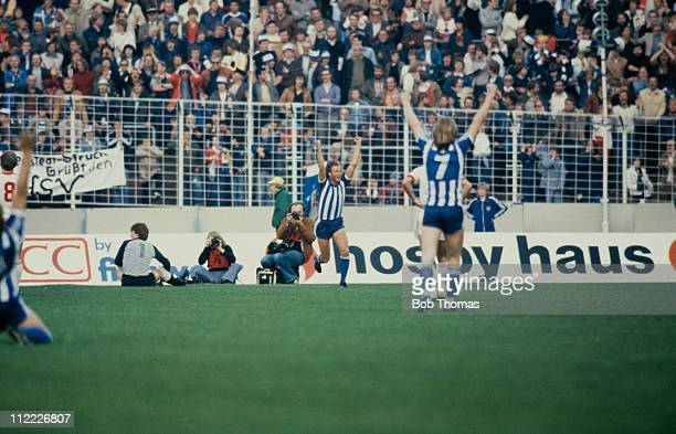 Dan Corneliusson celebrates after scoring Gothenburg's first goal in the 2nd Leg of the UEFA Cup Final against Hamburg 19th May 1982 Gotherburg won...