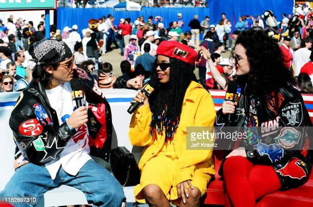 Dan Cortese and Lisa Kennedy Montgomery at The 1993 MTV Super Bowl Show at The Rose Bowl on January 31st 1993 in Anaheim CA