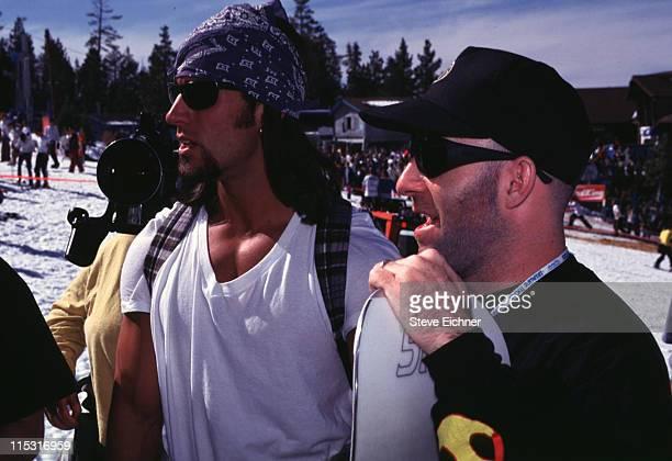 Dan Cortese MTV VJ and Scott Ian of Anthrax during Board Aid Lifebeat Benefit 3151995 at Big Bear California United States