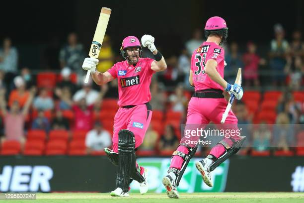 Dan Cristian of the Sixers celebrates the Big Bash League match between the Sydney Sixers and the Brisbane Heat at Metricon Stadium, on January 10 in...