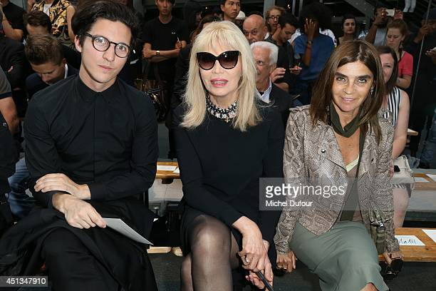 Dan Croll Amanda Lear and Carine Roitfeld attend the Givenchy show as part of the Paris Fashion Week Menswear Spring/Summer 2015 on June 27 2014 in...