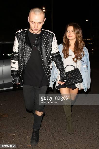 Dan Crossley and Mimi Bouchard at Mahiki Kensington on November 16 2017 in London England