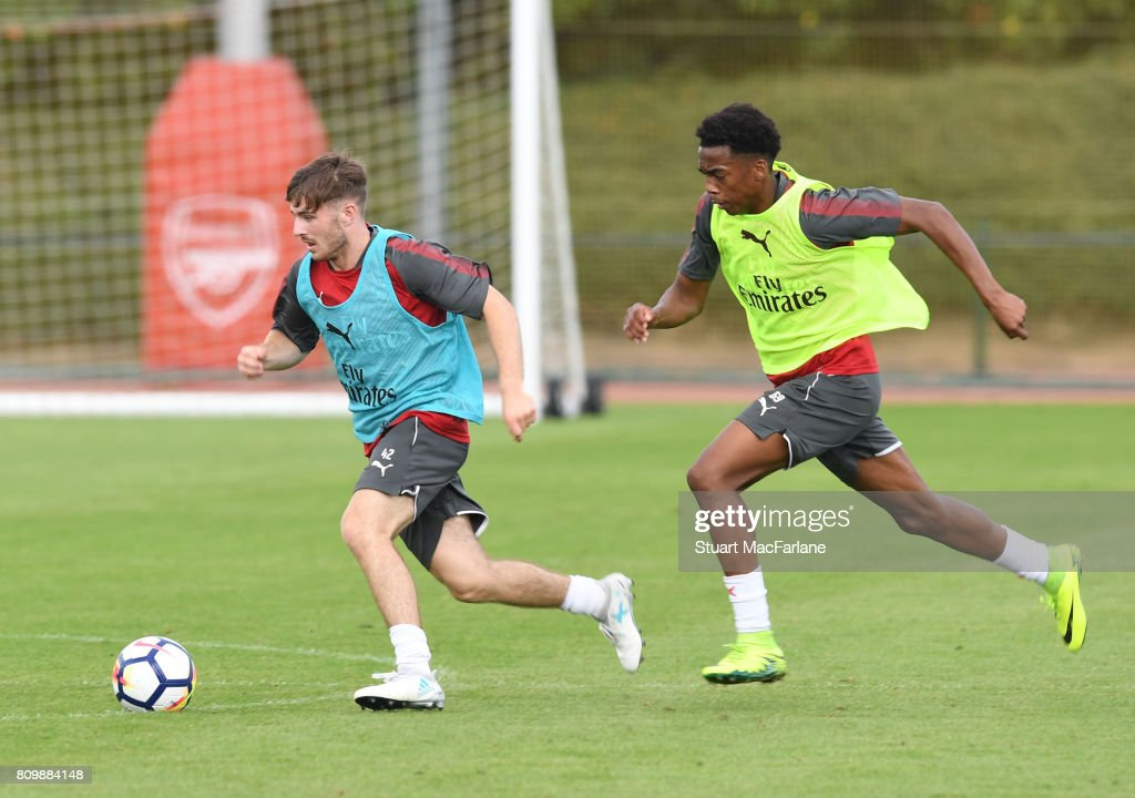 Dan Crowley and Joe Willock of Arsenal during a training session at London Colney on July 6, 2017 in St Albans, England.