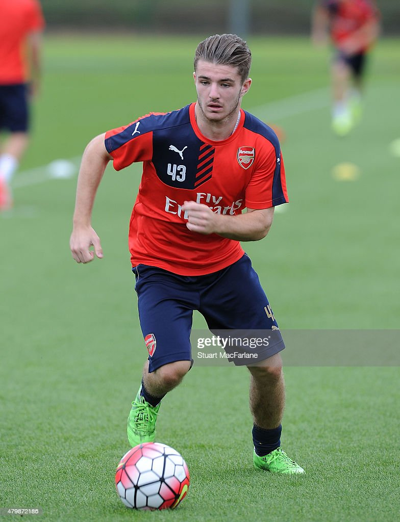 Dan Crowley of Arsenal during a training session at London Colney on July 8, 2015 in St Albans, England.