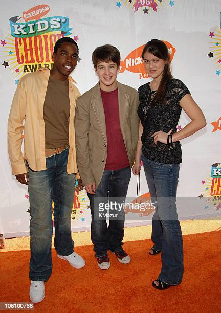 Dan Curtis Lee Devon Werkheiser and Lindsey Shaw during Nickelodeon's 19th Annual Kids' Choice Awards Orange Carpet at Pauley Pavilion in Westwood...