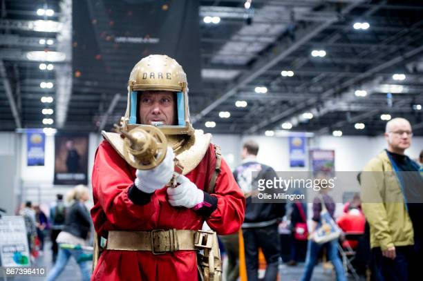 Dan Dare cosplayer during MCM London Comic Con 2017 held at the ExCel on October 28 2017 in London England