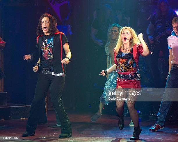 Dan Domenech and Rebecca Faulkenberry attend the Broadway reopening night of 'Rock of Ages' at Helen Hayes Theatre on March 24 2011 in New York City