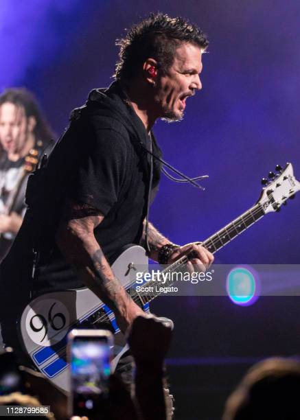 Dan Donegan of Disturbed performs at Little Caesars Arena on March 05 2019 in Detroit Michigan