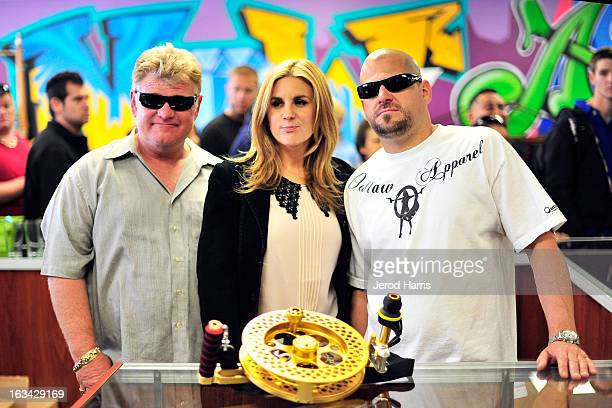 Dan Dotson Brandi Passante and Jarrod Schulz stars of Storage Wars arrive at the Grand Opening of Now Then Second Hand Store on March 9 2013 in Long...