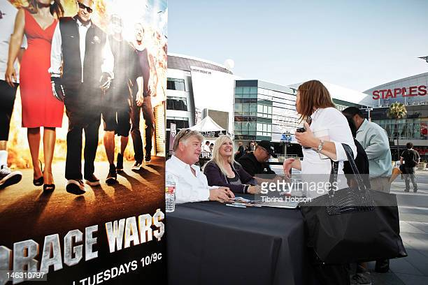 Dan Dotson Laura Dotson and Dave Hester attend AE's 'Storage Wars' Lockbuster Tour at Nokia Plaza LA LIVE on June 13 2012 in Los Angeles California