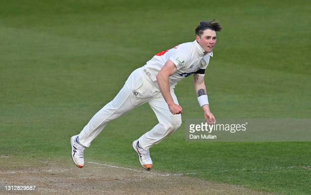 Dan Douthwaite of Glamorgan bowls during day two of the LV= Insurance County Championship match between Glamorgan and Sussex at Sophia Gardens on...