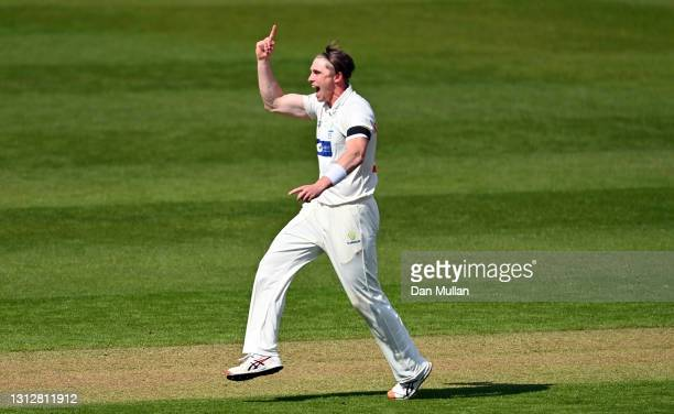 Dan Douthwaite of Glamorgan celebrates taking the wicket of Ben Brown of Sussex during day two of the LV= Insurance County Championship match between...