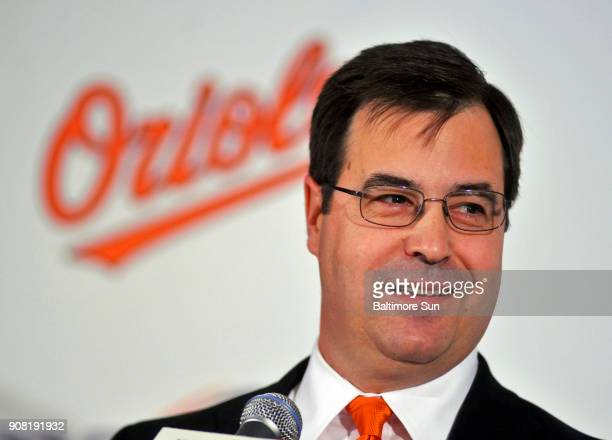 Dan Duquette the executive vice president of baseball operations for the Baltimore Orioles speaks at a news conference in Baltimore on November 8 2011
