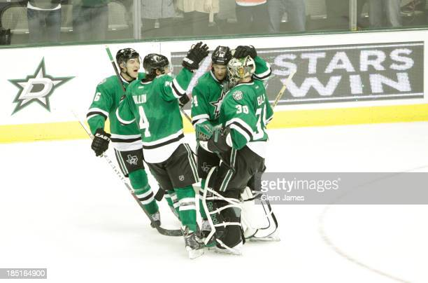 Dan Ellis Brenden Dillon Ryan Garbutt Jordie Benn and the Dallas Stars celebrate a win against the San Jose Sharks at the American Airlines Center on...
