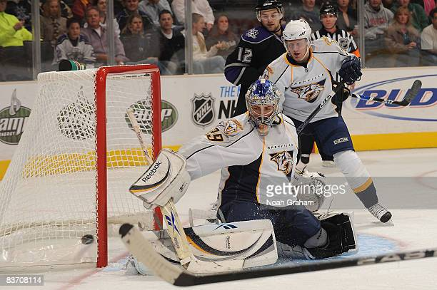 Dan Ellis of the Nashville Predators saves a shot on goal against the Los Angeles Kings during the game on November 15 2008 at Staples Center in Los...