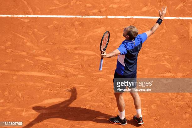 Dan Evans of Great Britain celebrates after winning his quarter-final match against David Goffin of Belgium on day six of the Rolex Monte-Carlo...