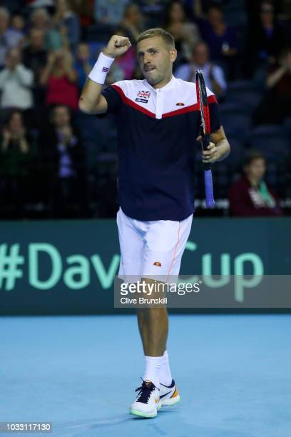 Dan Evans of Great Britain celebrates in his match against Denis Istomin of Uzbekistan during day one of the Davis Cup by BNP Paribas World Group...