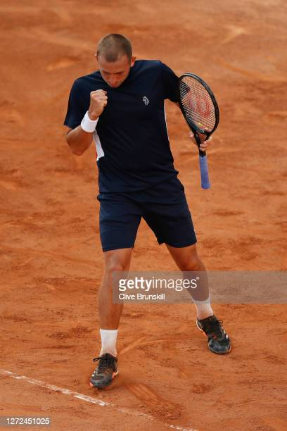 Dan Evans of Great Britain celebrates in his round one match against Hubert Hurkacz of Poland during day one of the Internazionali BNL D'Italia at...