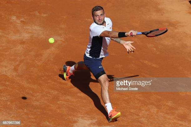 Dan Evans of Great Britain in action during his forst round match against Jiri Vesely of Czech Republic on Day Two of The Internazionali BNL d'Italia...
