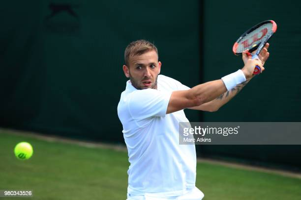Dan Evans of Great Britain in action during Wimbledon 2018 PreQualifying at Southlands College Tennis Courts on June 21 2018 in London England