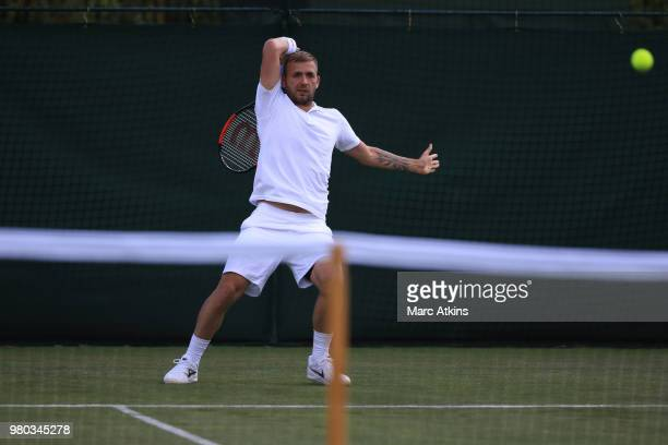 Marcus Willis of Great Britain in action during his Wimbledon 2018 PreQualifying match against Dan Evans at Southlands College Tennis Courts on June...