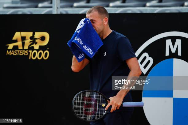 Dan Evans of Great Britain reacts in his round one match against Hubert Hurkacz of Poland during day one of the Internazionali BNL D'Italia at Foro...