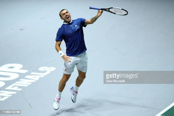 Dan Evans of Great Britain reacts to winning his quarter final match against JanLennard Struff of Germany on Day Five of the 2019 Davis Cup at La...