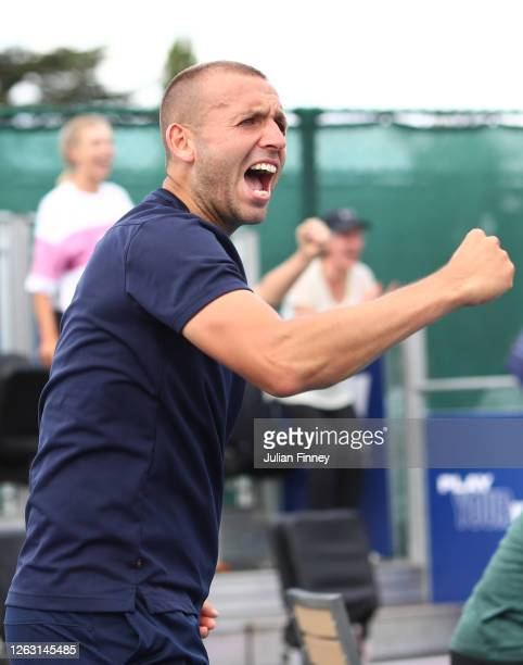 Dan Evans of Union Jacks celebrates Jodie Burrage's victory in her women's singles match against Emma Raducanu of British Bulldogs during day six of...