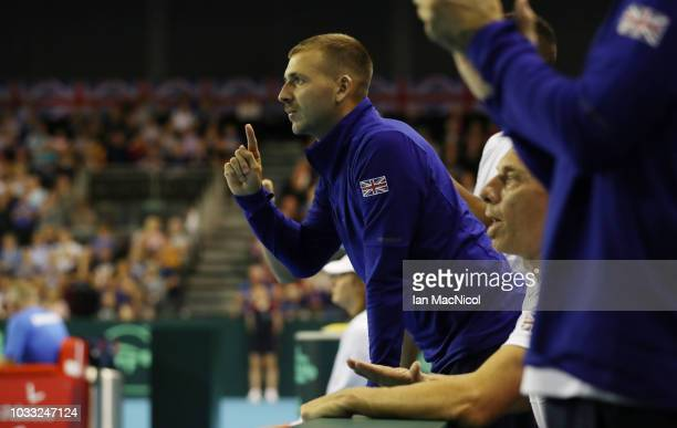 Dan Evans reacts during Cameron Norrie's match against Jurabek Karimov of Uzbekistan during day one of the Davis Cup by BNP Paribas World Group...