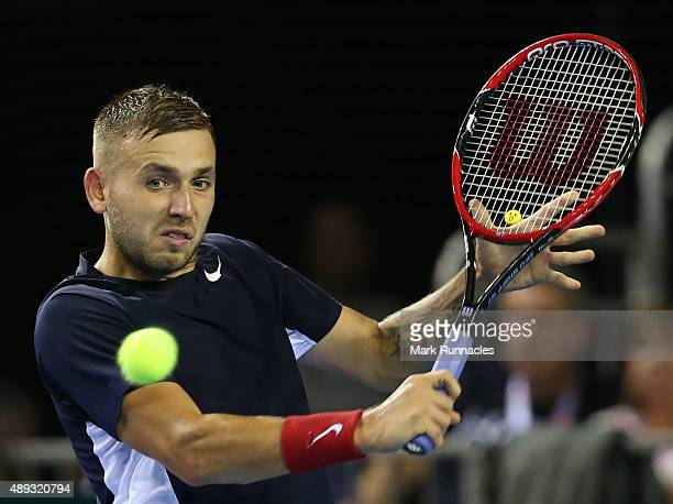 Dan Evens of Great Britain in action during his singles match with Thanasi Kokkinakis of Australia on the third day of the Davis Cup Semi Final 2015...
