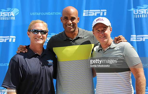 Dan Faver Boris Kodjoe and Patrick McEnroe attend the USTA Serves 2014 ProAm Tennis at East Hampton Indoor Tennis Club on August 21 2014 in East...