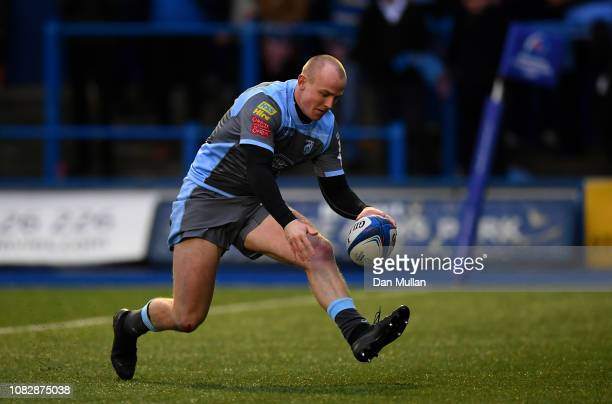 Dan Fish of Cardiff Blues goes over to score his side's second try during the Champions Cup match between Cardiff Blues and Saracens at Cardiff Arms...