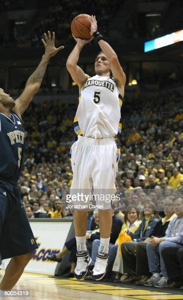 Dan Fitzgerald of the Marquette Golden Eagles takes a jumpshot against the Pittsburgh Panthers on February 15 2008 at the Bradley Center in Milwaukee...