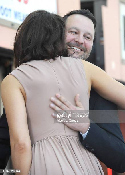 Dan Fogelman hugs Mandy Moore at her star ceremony on The Hollywood Walk of Fame on March 25 2019 in Hollywood California