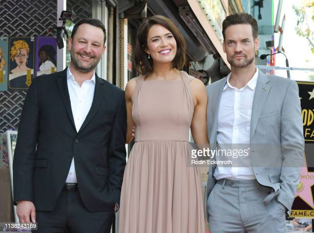 Dan Fogelman Mandy Moore and Shane West attend a ceremony honoring Mandy Moore with a star on the Hollywood Walk Of Fame on March 25 2019 in...