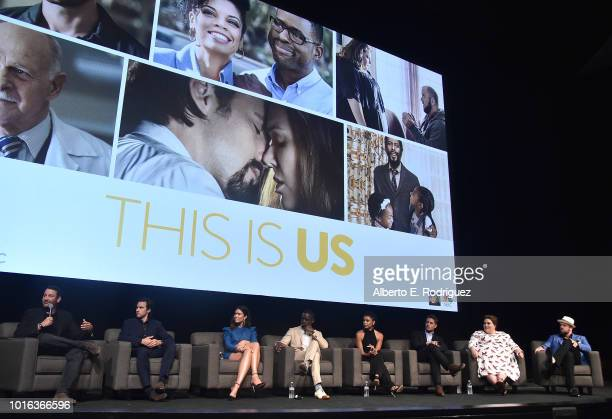 Dan Fogelman Milo Ventimiglia Mandy Moore Sterling K Brown Susan Kelechi Watson Justin Hartley Chrissy Metz and Chris Sullivan attend a panel...
