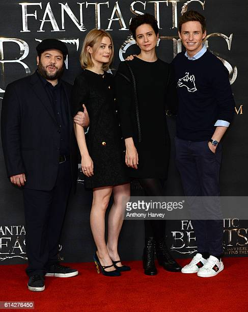 Dan Fogler Alison Sudol Katherine Waterston and Eddie Redmayne attend a photocall for 'Fantastic Beast And Where To Find Them' at May Fair Hotel on...