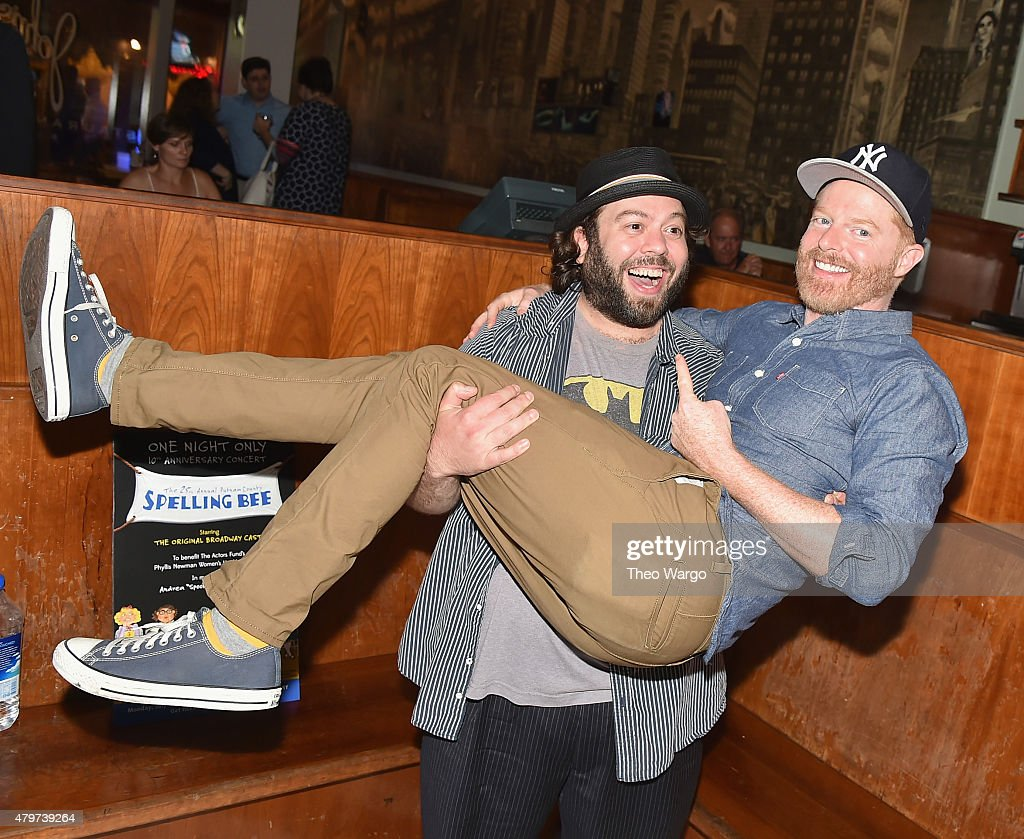 Dan Fogler and Jesse Tyler Ferguson attend the '25th Annual Putnam County Spelling Bee' 10th Anniversary Concert Reunion - Reception at John's Pizzeria on July 6, 2015 in New York City.