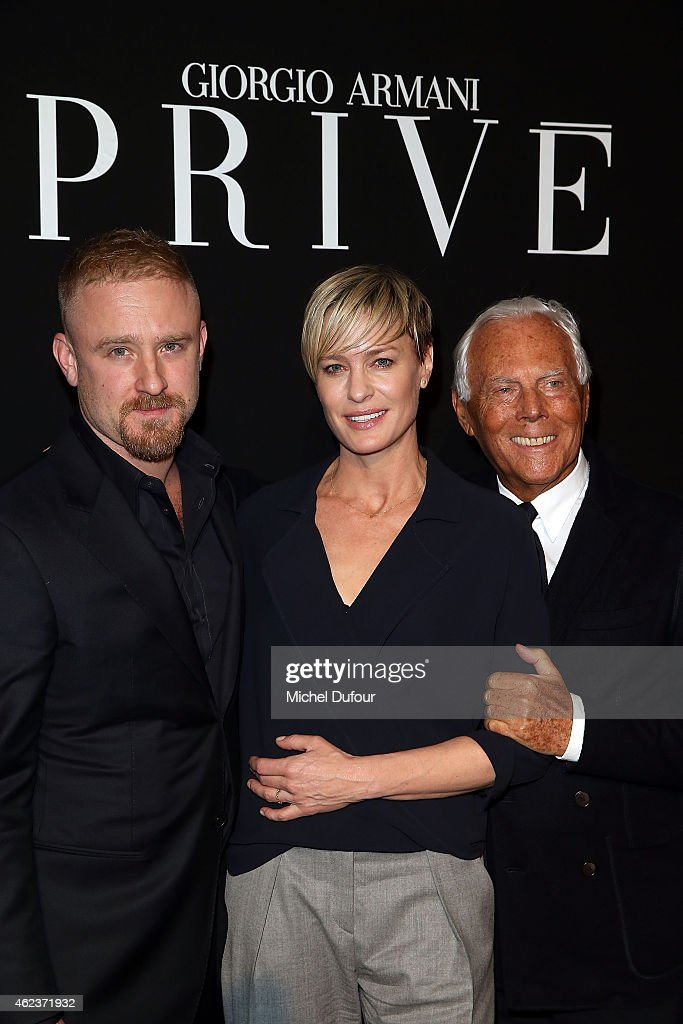 Dan Foster, Robin Wright and Georgio Armani arrive at the Giorgio Armani Prive show as part of Paris Fashion Week Haute-Couture Spring/Summer 2015 on January 27, 2015 in Paris, France.