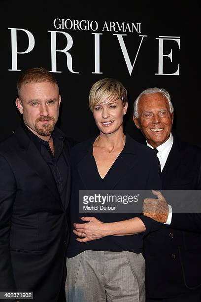 Dan Foster Robin Wright and Georgio Armani arrive at the Giorgio Armani Prive show as part of Paris Fashion Week HauteCouture Spring/Summer 2015 on...