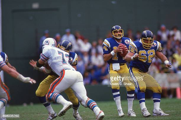 Dan Fouts of the San Diego Chargers circa 1987 gets ready to pass against the Miami Dolphins at Jack Murphy Stadium in San Diego California