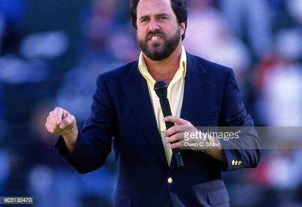 Dan Fouts of the San Diego Chargers circa 1987 is honored at Javk Murphy Stadium in San Diego California