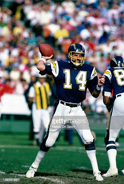 Dan Fouts of the San Diego Chargers drops back to pass during an NFL football game circa 1986 at Jack Murphy Stadium in San Diego California Fouts...