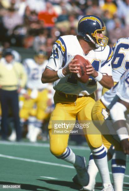 Dan Fouts of the San Diego Chargers drops back to pass during an NFL football game circa 1980