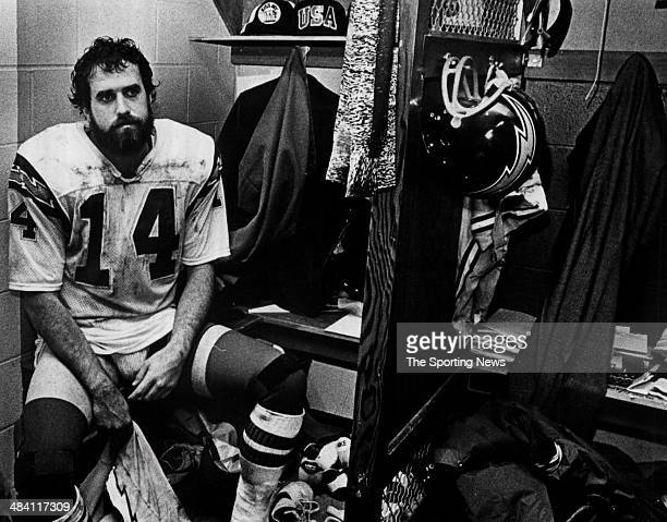 Dan Fouts of the San Diego Chargers sits in the locker room circa 1980s