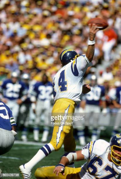 Dan Fouts of the San Diego Chargers throws a pass against the Seattle Seahawks during an NFL football game October 14 1979 at Jack Murphy Stadium in...