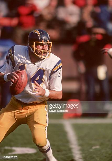 Dan Fouts of the San Diego Chargers throws a pass during a National Football League game against the San Francisco 49ers played on December 11 1982...