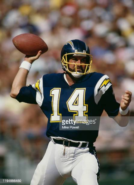 Dan Fouts Quarterback for the San Diego Chargers prepares to throw the ball during the NFL American Football Conference West game against the St...
