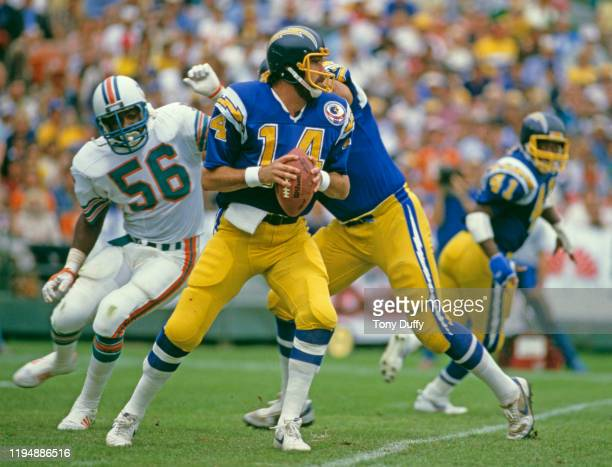 Dan Fouts, Quarterback for the San Diego Chargers prepares to throw the ball during the American Football Conference Division Playoff game against...