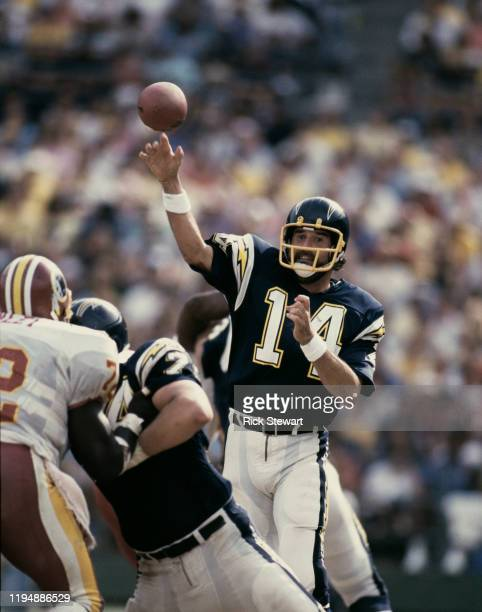 Dan Fouts Quarterback for the San Diego Chargers prepares to throw the ball during the NFL American Football Conference West game against the...